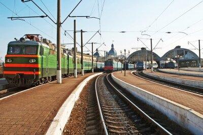 Sticker Les trains à la gare de chemin de fer