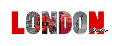 Sticker Lettres de Londres, isolé sur fond blanc, voyage et tourisme en concept britannique