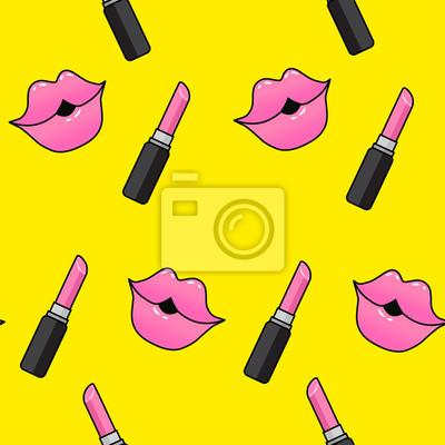 Sticker Lèvres Femelles Bouche Avec Un Bisou Une Pommade Un Rouge