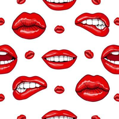 Sticker Lèvres, seamless, modèle, retro, pop, art