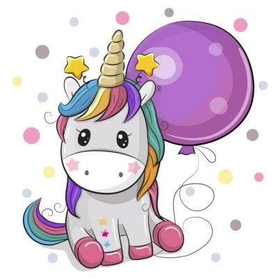 Sticker Licorne de dessin animé mignon avec ballon