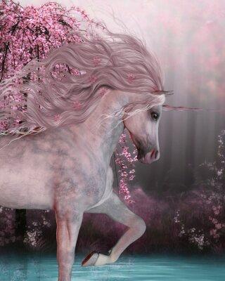 Sticker Licorne de fleurs de cerisier - Le cheval de licorne est une créature mythique avec un corne sur son front et les sabots fendus et vit dans la forêt magique.