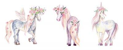 Sticker Licorne magique, Pégase et Poney. Illustration aquarelle, beauti