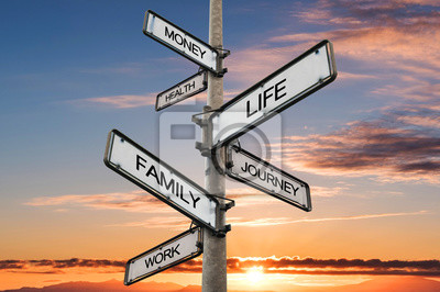 Sticker Life balance choices signpost, with sunrise sky backgrounds
