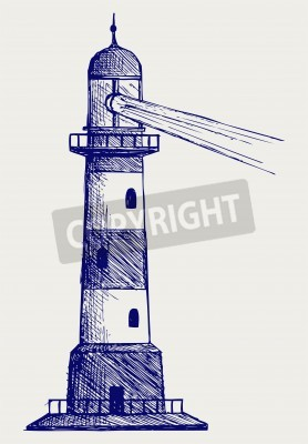 Sticker Lighthouse. style Doodle
