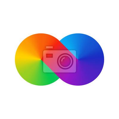 Ligne épaisse infini signe spectre de couleur. Gradient arc-en-ciel sous la forme du signe de l'infini. Huit signe dégradé coloré. Deux cercles joints.