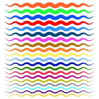 Sticker Lignes ondulées ondulées colorées, épaisses à minces