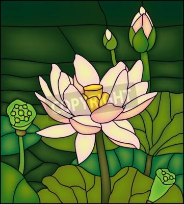 Sticker Lily dans l'étang, vitrail en verre souillé