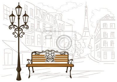 Sticker line drawing of Paris, a bench and a lantern
