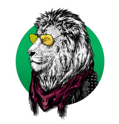 Lion dans des verres et un foulard de couleur avec le dessin.