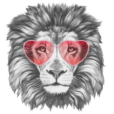Sticker Lion dans l'amour! Portrait, lion, coeur, Formé, lunettes soleil Illustration tirée à la main.
