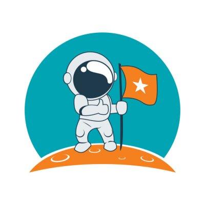 Sticker Little Astronaut Succès sur Moon Mission Cartoon