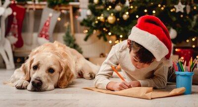 Sticker Little boy writing letter to santa
