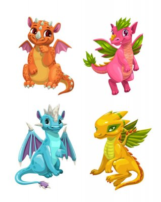 Sticker Little cute cartoon dragons set. Colotful fantasy monsters.