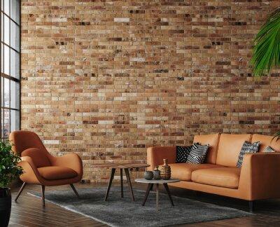 Sticker Living room loft in industrial style ,3d render