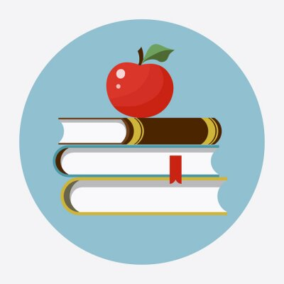 Sticker Livres avec apple flat icon