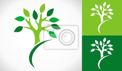 Sticker logo arbre et jardinier design