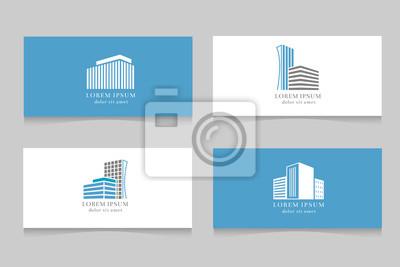 Sticker Logo De Limmobilier Avec Le Modele Carte Visite Conception