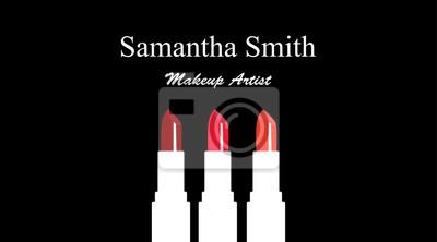 Sticker Logo Et Carte De Visite Pour Le Maquilleur Salon Magasin Avec Des Silhouettes