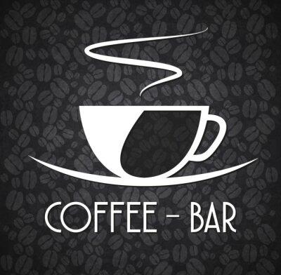 Sticker Logo Minimalist Coffee Bar Black and White
