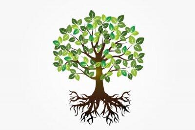 Sticker Logo tree roots symbol of life vector image design
