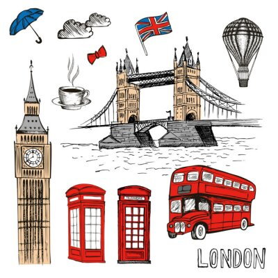Sticker London Doodles. Illustration de vecteur dessinés à la main avec des symboles de Londres