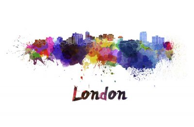 Sticker Londres, Horizon, aquarelle