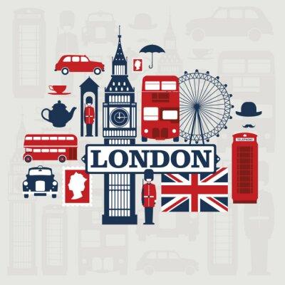 Sticker Londres vecteur ensemble