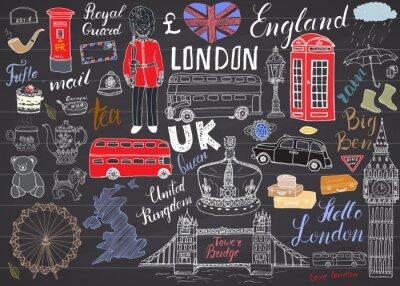 Sticker Londres, ville, doodles, éléments, collection. Main, dessiné, ensemble, tour, pont, couronne, grand, ben, royal, garde, rouge, autobus, britannique, carte, drapeau, thé, pot, lettrage, vecteur, illust