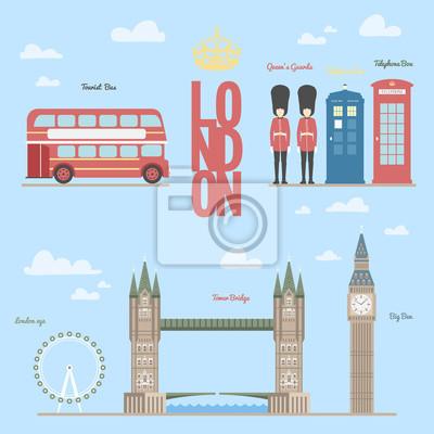 Sticker Londres, voyage, info, graphique, /, vecteur, Illustration, londres