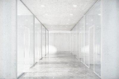 Sticker Long couloir avec sol en béton et murs transparents en moder