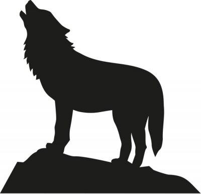 Sticker Loup debout et hurlant