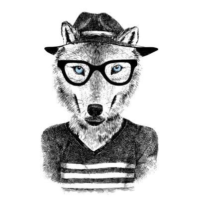 Sticker Loup dressé