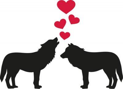 Sticker Loups dans l'amour