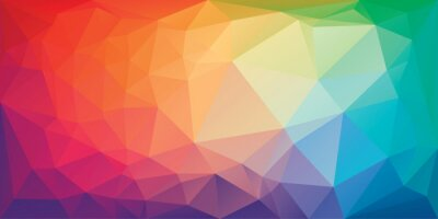 Sticker Low poly triangular background in bright rainbow colors. Colorful polygonal banner template. Multicolor backdrop in origami style. Vector eps8 illustration with irregular triangles.