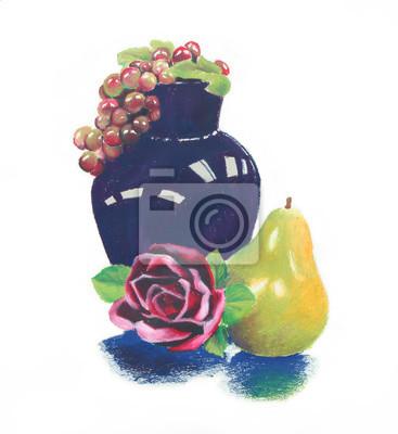 Sticker lumineux coloré pastel à l'huile encore vie de vase bleu sombre et raisin pourpre avec des rose rouge et la composition de fruits de poire jaune vert, illustration clip art dessiné à la main est isolé