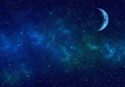 Sticker Lune, nébuleuse et étoiles dans le ciel nocturne. Fond de l'espace.