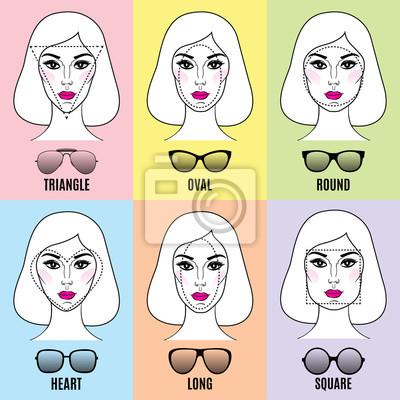 2ecfd3e562be09 Sticker Lunettes de soleil pour femmes Formes pour différentes formes de  visage.