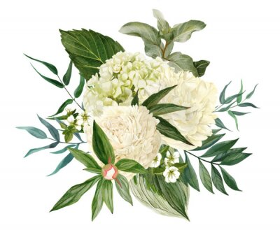 Sticker Lush bouquet composed of white flowers and greenery
