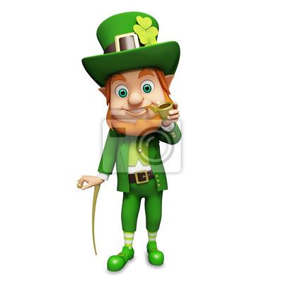 Lutin de jour de St Patrick de standing avec bâton