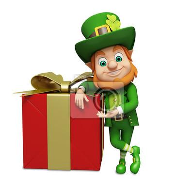 Lutin de jour de St Patrick de standing en plus grande boîte de cadeau