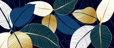 Sticker luxury gold and blue India rubber plant line art background vector. Flower boho style for textiles, wall art, fabric, wedding invitation, cover design Vector illustration.