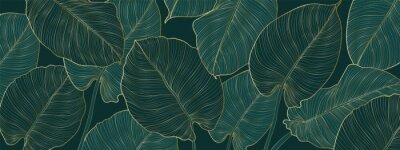 Sticker Luxury gold and nature green background vector. Floral pattern, Golden split-leaf Philodendron plant with monstera plant line arts, Vector illustration.