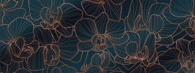Sticker Luxury Orchid wallpaper design vector. Tropical pattern design,Blossom floral,  Blooming realistic isolated flowers. Hand drawn. Vector illustration.