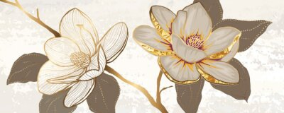 Sticker Luxury white magnolia foil metallic background vector with golden metallic home decorate wall art