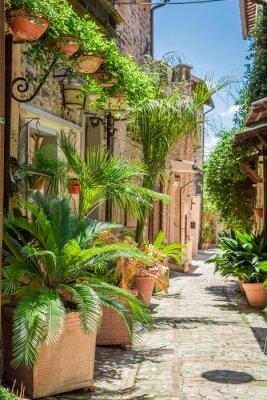 Sticker Magnifique rue décorée dans une petite ville en Italie, Ombrie