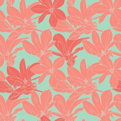 Sticker Magnolia fleurs Vintage seamless pattern.