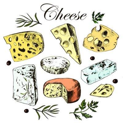Sticker main dessin défini avec différents fromages