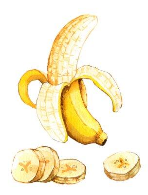 Sticker Main, dessiné, aquarelle, Illustration, banane
