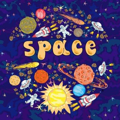 Sticker Main, dessiné, bande dessinée, espace